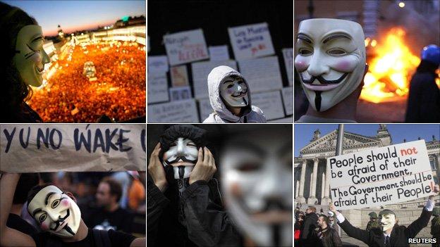 Reuters image of V for Vendetta masks used in protests